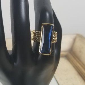 Jewelry - Dark royal blue rhinestone ring gold plated